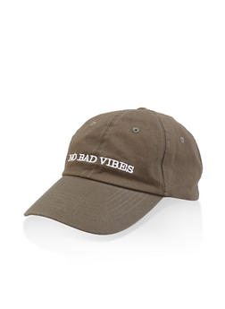 No Bad Vibes Graphic Embroidered Baseball Cap - 3129074507604
