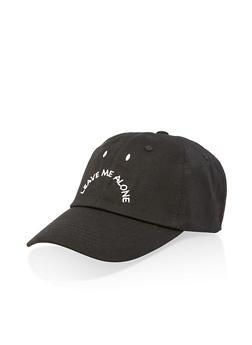 Leave Me Alone Embroidered Baseball Hat - Black - 3129074507615