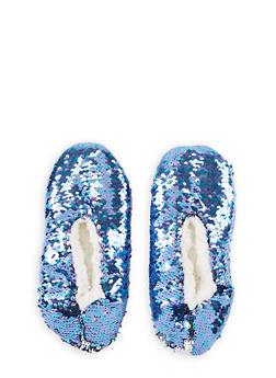 Reversible Sequin Slippers - BLUE - 3130055320005