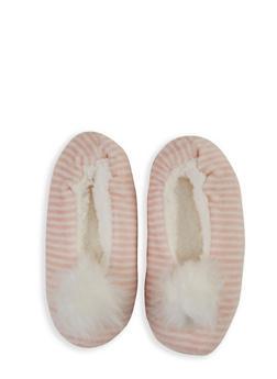 Striped Pom Pom Slippers - 3130055324766