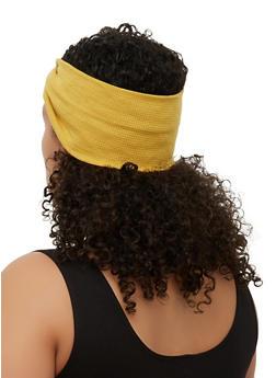 Waffle Knit Twist Front Head Wrap - 3131018439406