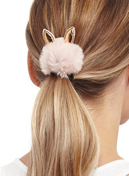 Set of Animal Ear Pom Pom Hair Ties - 3131059637019