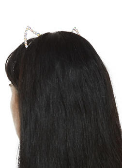 Metallic Rhinestone Cat Ear Headband - 3131063090912
