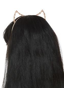 Metallic Rhinestone Cat Ear Headband - 3131063090912