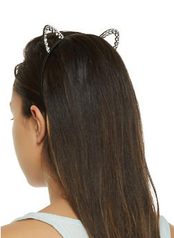Rhinestone Cut Out Cat Ear Headband - 3131063091013