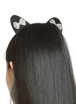 Rhinestone Bow Cat Ear Headband - 3131063092546