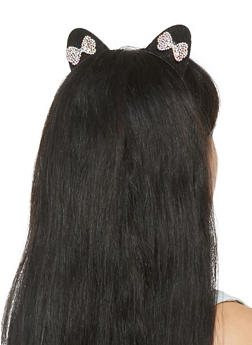 Rhinestone Bow Cat Ear Headband - 3131063092546