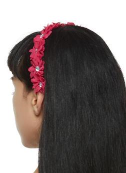 Rhinestone Studded Stretch Flower Headband - 3131067251096