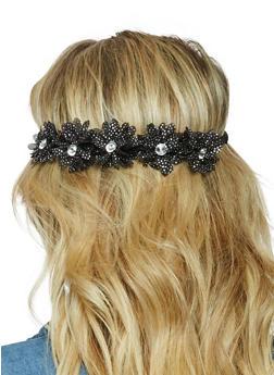 Rhinestone Glitter Flower Headband - 3131067251251