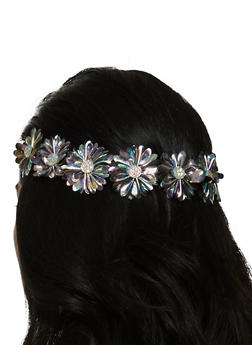 Rhinestone Studded Stretch Flower Headband - 3131067253860
