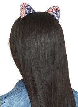 Americana Rhinestone Cat Ears Headband - 3131074170209