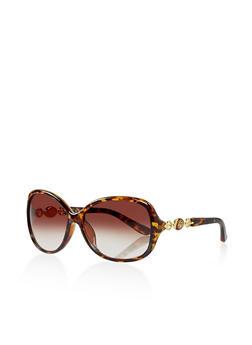 Metallic Flower Detail Oval Sunglasses - 3133004265363