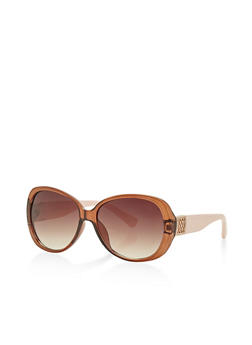 Plastic Frame Sunglasses with Lasercut Side Detail - 3133004265479