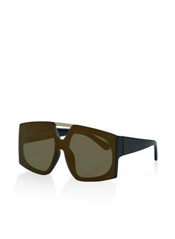 Mirrored Rimless Shield Sunglasses - 3133004265526