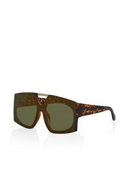 Mirrored Rimless Shield Sunglasses - 3133004265526