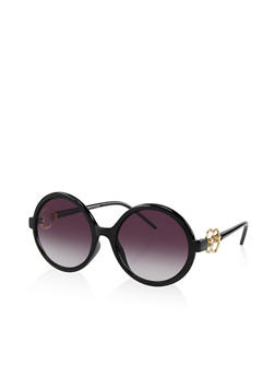 Double Ring Detail Round Sunglasses - 3133004265589