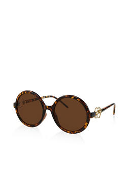 Double Ring Detail Round Sunglasses - Brown - 3133004265589
