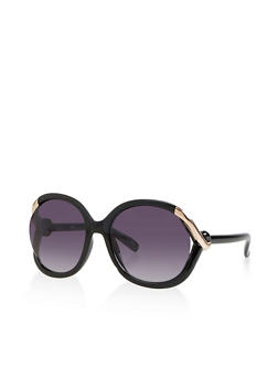 Metallic Tube Detail Open Side Sunglasses - 3133056170689