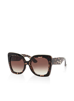 Metallic Trim Plastic Square Sunglasses - 3133056175000