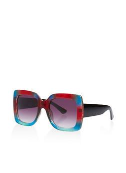 Oversized Glitter Plastic Sunglasses - 3133056175009