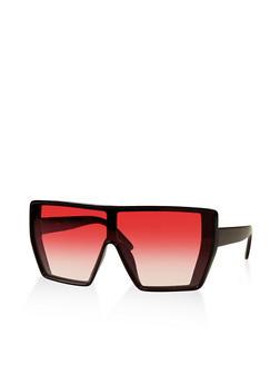 Plastic Colored Shield Sunglasses - 3133056175021