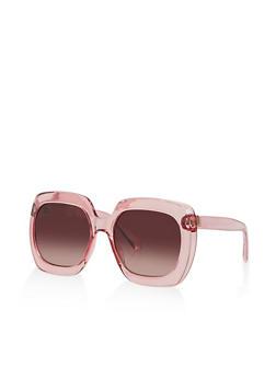 Square Thick Plastic Frame Sunglasses - 3133056176810
