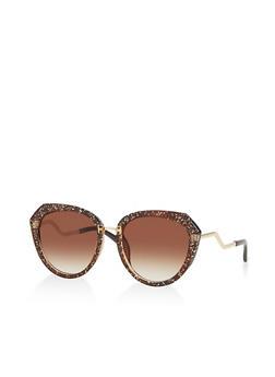 Glitter Plastic Frame Sunglasses - 3133056177400