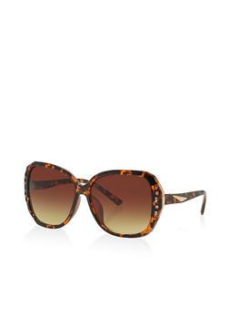 Metallic Trim Detail Sunglasses - 3133071210399