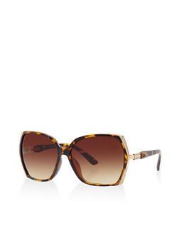 Rhinestone Trim Sunglasses - 3133071210534