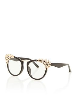 Round Sunglasses with Jeweled Corners - 3133071211240