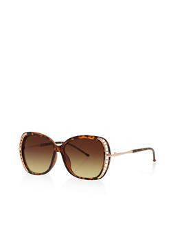 Cut Out Trim Plastic Sunglasses - 3133071211399