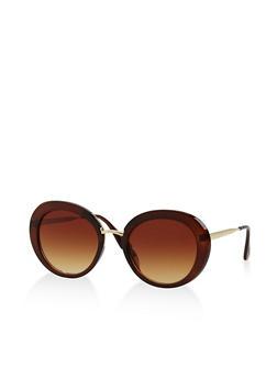 Round Metallic Accent Sunglasses - 3133071213045