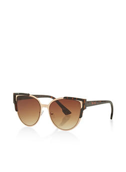 Trimmed Metallic Cat Eye Sunglasses - 3133071214005