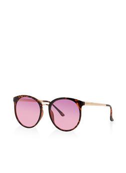 Two Tone Circular Sunglasses - 3133071214299