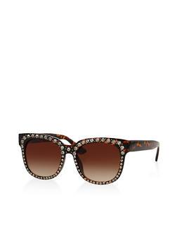 Rhinestone Studded Plastic Sunglasses - 3133071219170