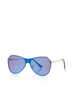 Mirrored Metallic Rimless Sunglasses - 3133071219250