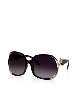 Oversized Metallic Detail Sunglasses - 3133071219709