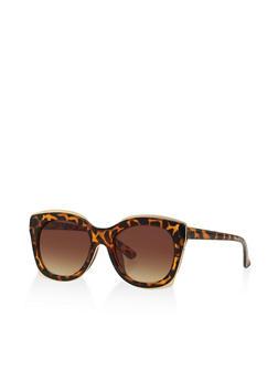 Metallic Trim Sunglasses - 3133071219825