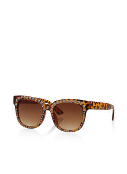 Rhinestone Trim Square Sunglasses - 3133071219917