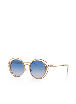 Hammered Metallic Circular Sunglasses - 3133071219919