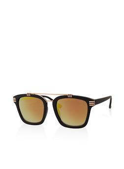 Square Top Bar Mirrored Sunglasses - 3133071219923