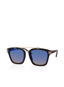 Square Top Bar Mirrored Sunglasses - 3133071219923