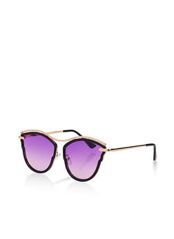 Two Tone Cat Eye Top Bar Sunglasses - 3133071219984