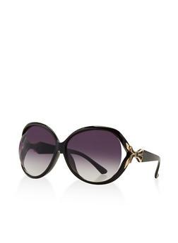 Metallic Bow Detail Sunglasses - 3133071220543