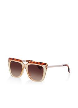 Metallic Arm Detail Square Sunglasses - 3133071221827