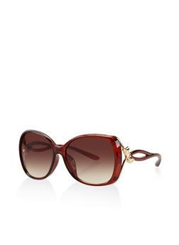 Metallic Bow Detail Sunglasses - 3133071222195