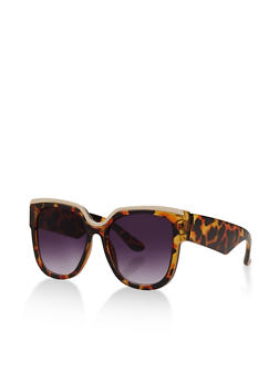 Metallic Trim Plastic Sunglasses - 3133071222713
