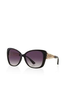 Side Rhinestone Cut Out Sunglasses - 3133071223477