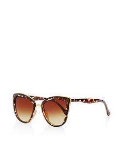 Metallic Trim Cat Eye Sunglasses - 3133073210001