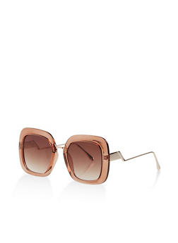 Metallic Nose Square Sunglasses - 3133073210010